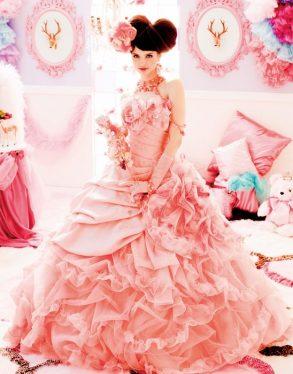 ウェディングドレス ピンク