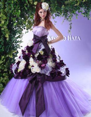 ウェディングドレス パープル
