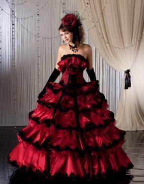 ウェディングドレス レッド赤